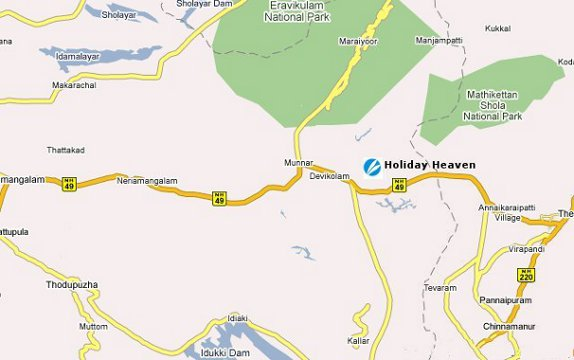 Map of munnar,holiday heaven